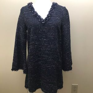 Zara tunic length sweater in marled navy knit S